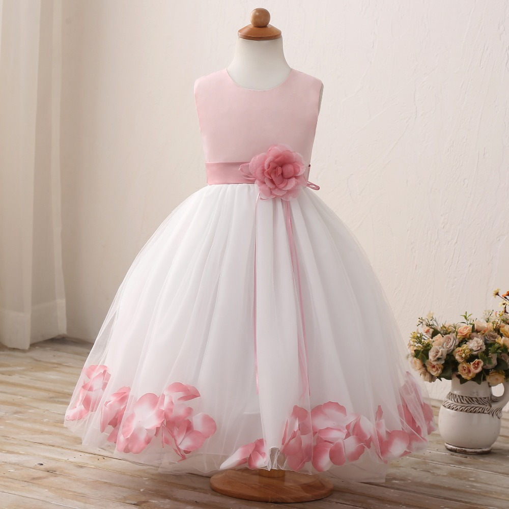 Flower Girl Children's Clothing Petal Hem Party Girl Tulle Dress Summer Kids Costumes Princess Dresses for Toddler Girls Clothes flower kids baby girl clothing dress princess sleeveless ruffles tutu ball petal tulle party formal cute dresses girls