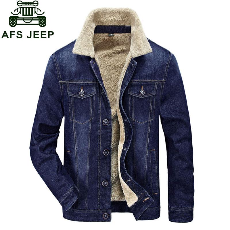 M~4XL New Retro Warm Denim Jackets Mens Jeans Coats Winter Jackets Brand CLOTHES Thicken Denim Coat Men Outwear Male Blue Black