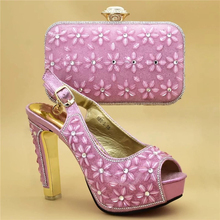 ed0a97ce1579e الأزياء الأحذية الايطالية مع مطابقة أكياس أحذية فائقة الجودة و مجموعة الحقائب  الأفريقي مجموعات 2019 النيجيري ومي عالية الكعب الز.