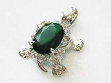 Luxury Jewelry Girls Turtle  Fashion  Silver Green gem black red pink Tortoise Female Luxury pendants + Necklace