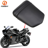 POSSBAY Vintage Cafe Racer Seat Cover Leather Motorcycle Rear Passenger Seat Cushion Pillion For Yamaha R1 R104 2004 2005 2006