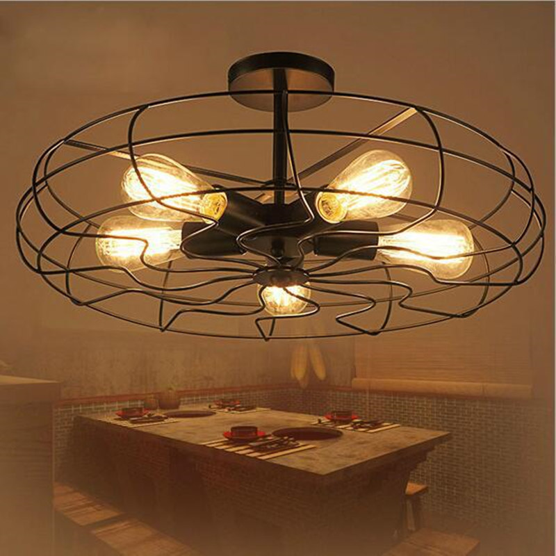 5Heads E27 Base Iron Material Vintage Retro Industrial Fan Ceiling Lights American Country Kitchen Loft Lamp With Bulb for free