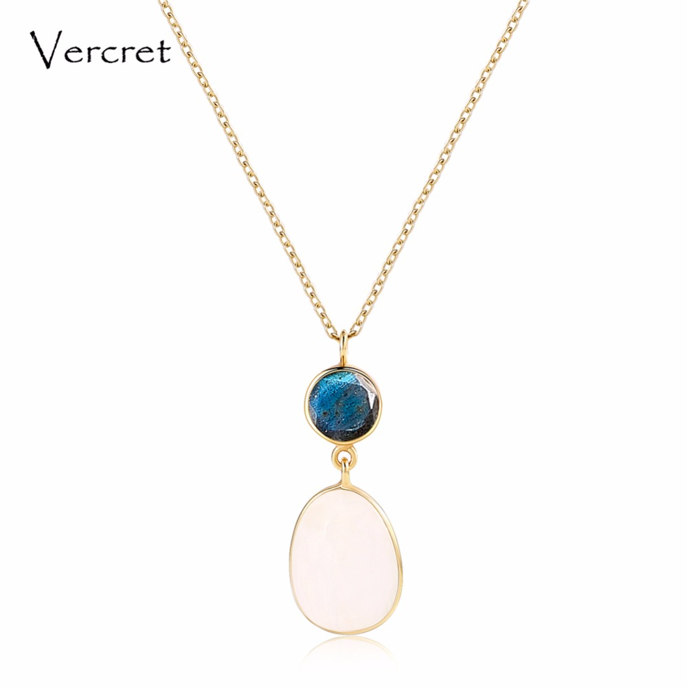 Vercret real 925 sterling silver moonstone pendent necklace fine jewelry for women gift