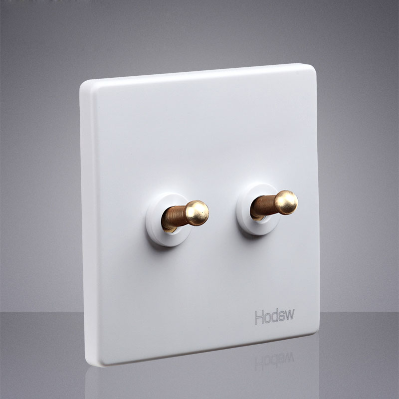 Type 86 1-4 Gang White Toggle Lamp Switch Outlet Brass Lever Single Dual Control Retro Light Switch Wall Power Socket Panel Set