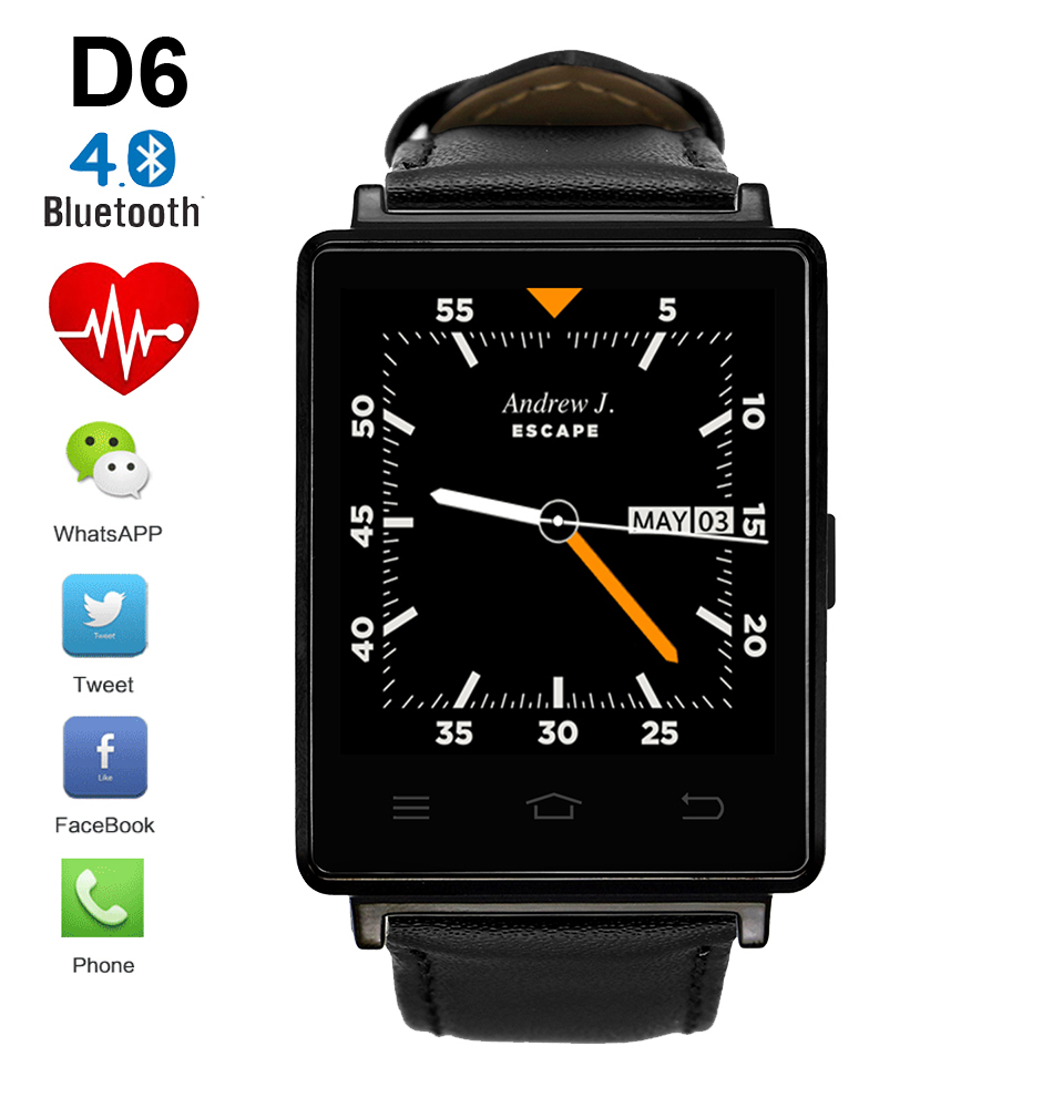 New D6 1.63 inch 3G Smartwatch Phone Android 5.1 MTK6580 Quad Core 1.3GHz GPS WiFi Bluetooth 4.0 Heart Rate Monitor Smart Watch no 1 d6 1 63 inch 3g smartwatch phone android 5 1 mtk6580 quad core 1 3ghz 1gb ram gps wifi bluetooth 4 0 heart rate monitoring
