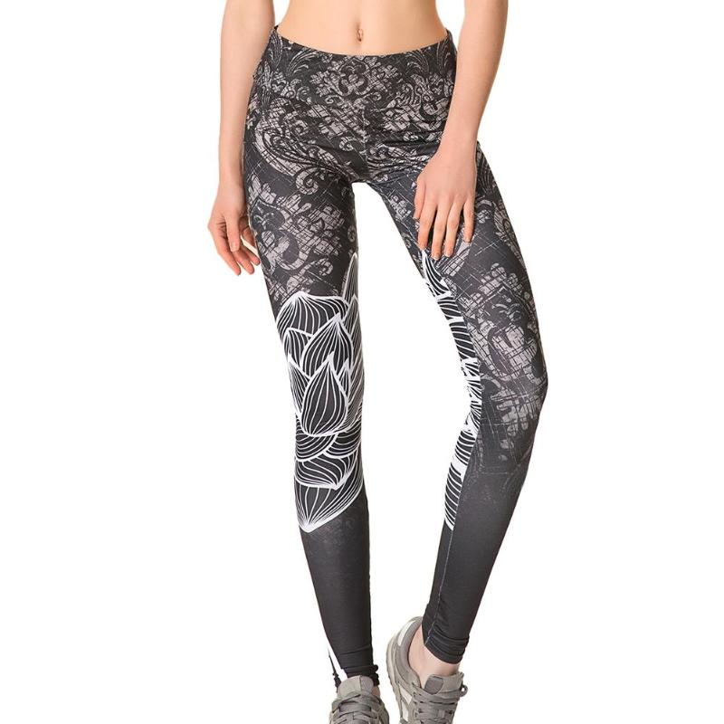 Elastic Breathable Women Pants High Waist Breathable Lotus Flower Print Joggers Fitness Workout Tights Elastic Trousers