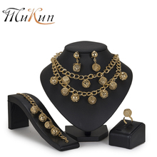 MUKUN Women jewelry set Nigerian bridal Brand Dubai Gold Color Jewelry Set Fashion African Beads design