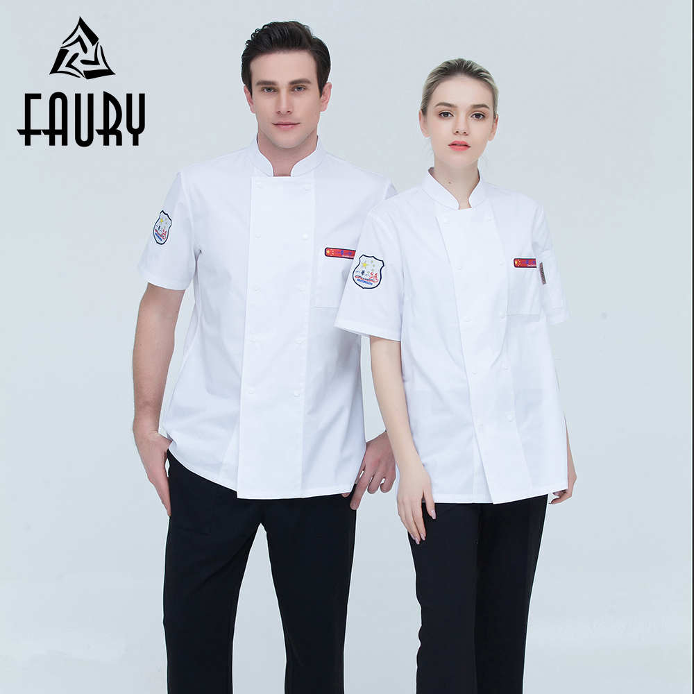 High Quality Embroidery Badge Short-sleeve Double Breasted Summer Breathable Kitchen Bakery Chef Jacket Restaurant Work Uniforms