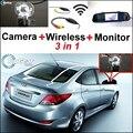 Especial Cámara de Visión Trasera + Receptor Inalámbrico + Monitor Del Espejo 3 in1 Fácil Sistema de Aparcamiento Para Hyundai i25 Verna 2012 ~ 2015