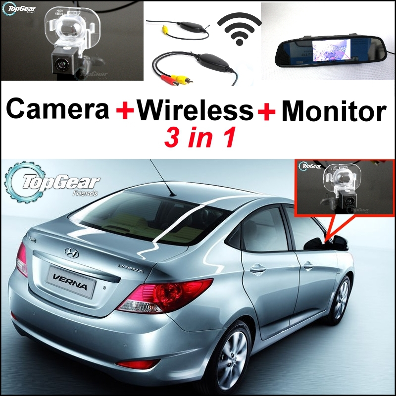 Special Rear View Camera + Wireless Receiver + Mirror Monitor 3 in1 Easy Parking System For Hyundai i25 Verna 2012~2015 3 in1 special rear view camera wireless receiver mirror monitor parking system for ford ecosport 2013 2015