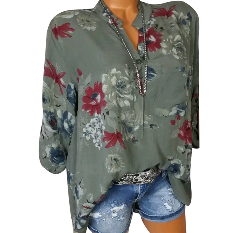 LASPERAL 2018 Women Summer Autumn Long Sleeve V Neck Women Blouse Floral Print Irregular Shirts 5XL Plus Size Women Tops Blouse 2