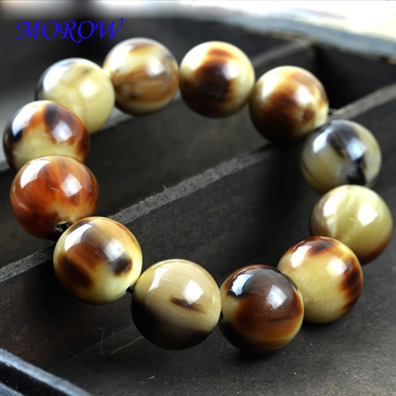 MOROW Trendy Natural Ox Horn Round Buddha Beads Stone Bracelets Simple Charm Classic Elastic Bracelet Jewelry for Womens Mens