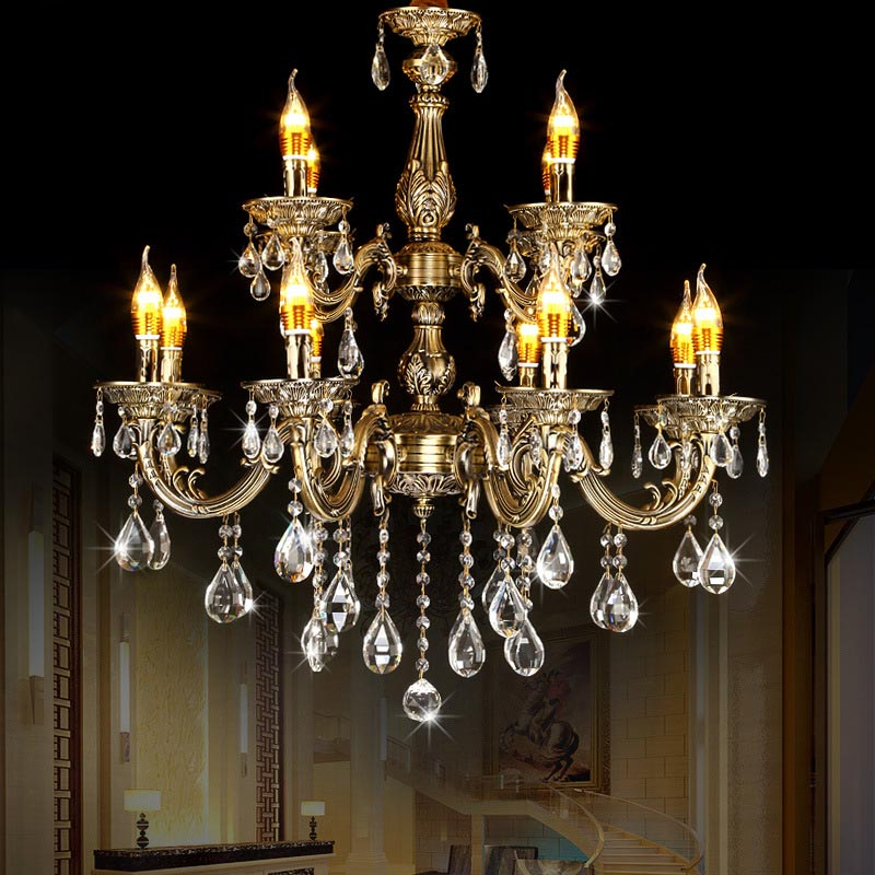 Vintage Luxury Candle Light Zinc Bronze Alloy Chandelier Lamp for Hotel Living Room Led K9 Crystal Chandelier Pendant Lights wrought iron chandelier e14 3pcs led candle light white vintage rustic pendant lamp for home study room living room