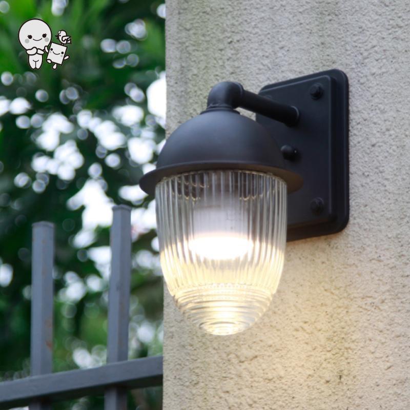 Extérieur étanche Mini noir en aluminium verre abat jour applique luminaire moderne applique luminaire pour balcon jardin E27 ampoule