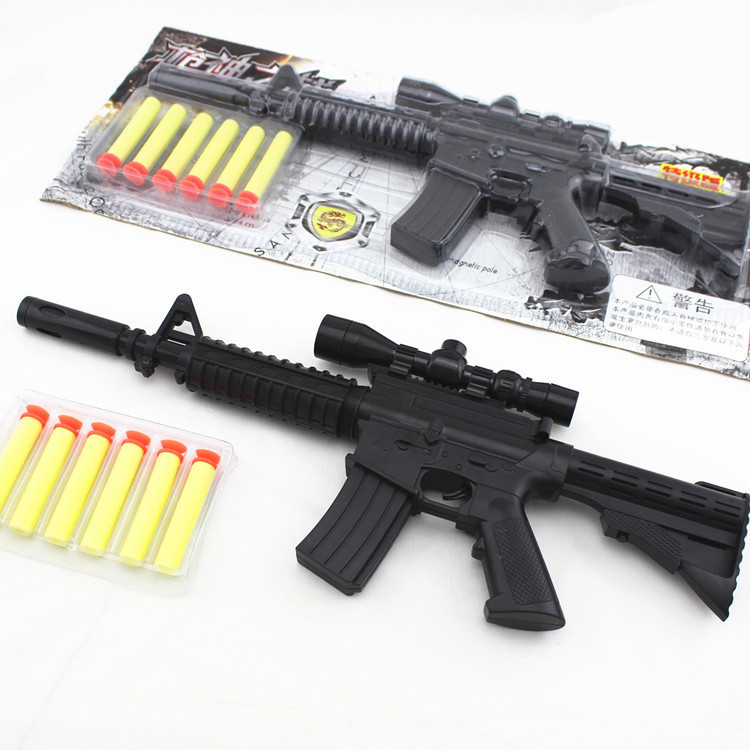 M4A1 assault rifle plastic nerf guns toy + 6 EVA Foam bullets Imitation for  kids Safe sniper rifle toy Submachine gun-in Toy Guns from Toys & Hobbies  on ...