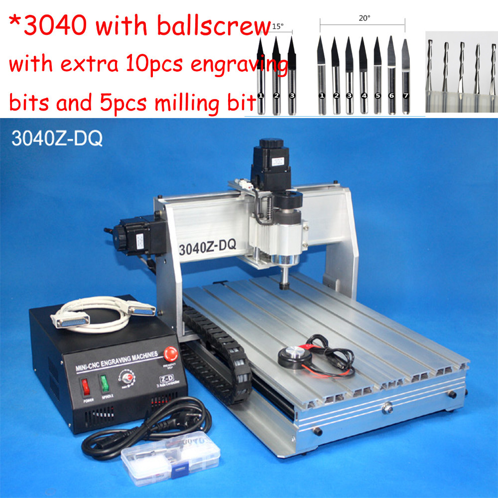 Hot 3040 Ballscrew cnc router , wood carving router , mini cnc engraving machine , PCB milling machine , cnc engraver , mach3 free tax desktop cnc wood router 3040 engraving drilling and milling machine