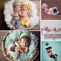 Adereços Fotografia de recém-nascidos Do Bebê Meninas Meninos Crochet Knit Traje Chapéus de Crochê Da Foto Do Bebê Adereços Set Roupas