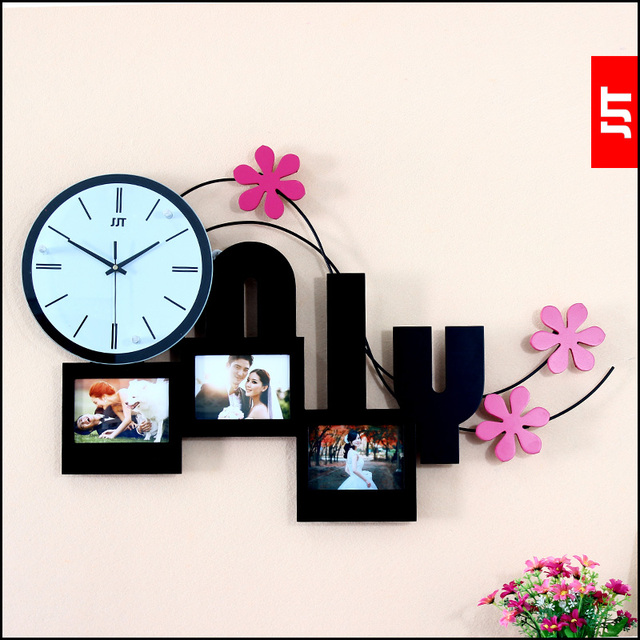 Luminousness wall clock photo frame combination only fashion silent ...
