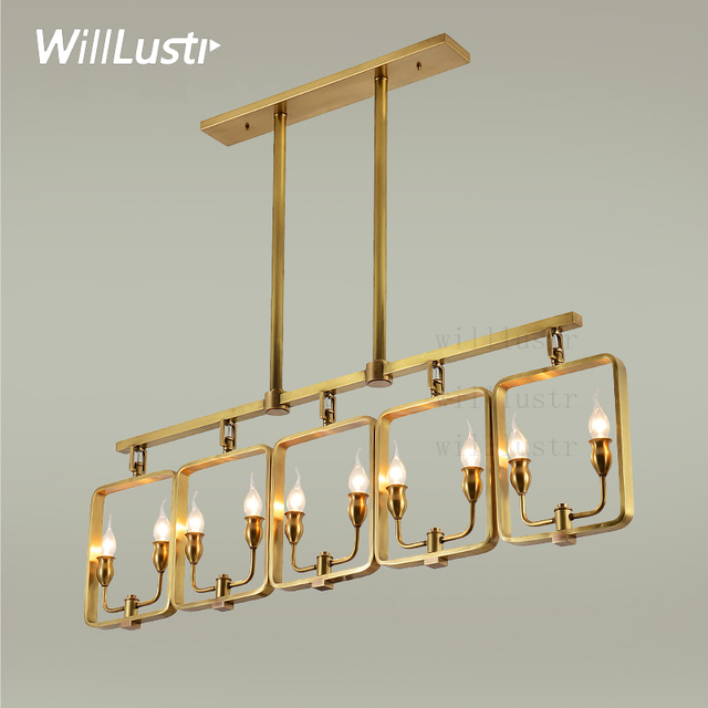 Willlustr Copper Pendant Lamp Brass Hanging Light Candle Chandelier Modern  Suspension Lighting American Stylish Country Nordic