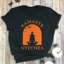 3defbc434 NAMASTE WITCHES Halloween Women T-shirt Round neck Shirt Short sleeve Tops Funny  Graphic printing