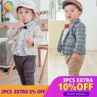 Lemonmiyu Children's Gentleman Sets Casual Long Sleeve Cotton Plaid Ties 3pcs Boy Set Autumn Kids Handsome Fashion Infant Suits