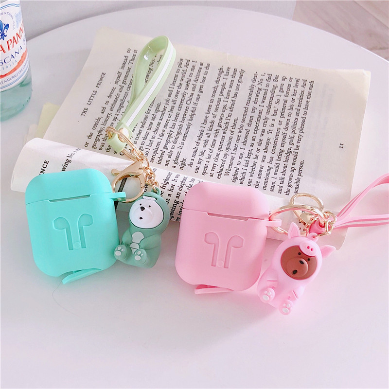 Cartoon Korea 3 bears Bluetooth Earphone Case For Apple Airpods Protective Cover Soft Silicone For Airpods Headset Charging Bags