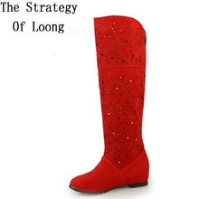 Fashion Cut Out Over The Knee Long Boots Women New Spring Summer Autumn  Flat Shoes  Free Shipping  Wholesale SXQ0602