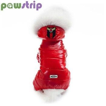 Pawstrip 3 Cores Pet Dog Dog Snowsuit Jumpsuit Roupas de Cachorro Inverno Espessamento Macio Gola De Pele Pequeno Moletom Com Capuz Cão Para Teddy s-XXL