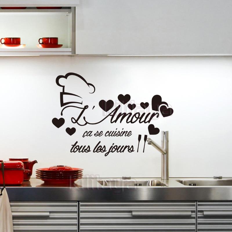 US $4.72 43% di SCONTO|Adesivi Cucina Francese L\'amour Adesivo Da Parete In  Vinile Decalcomanie Murale di Arte Della Parete Della Cucina Piastrelle ...