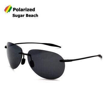 4e8bd955d1 Gafas de Sol de diseño de marca de aviación polarizadas estilo playa azúcar  montura sin montura TR90