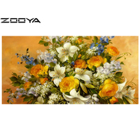 ZOOYA DIY 5D Diamond Painting Embroidery Resin Craft Rhinestones Cross Stitch Knitting Needles Rose Lily Floral Wall Decor AT314