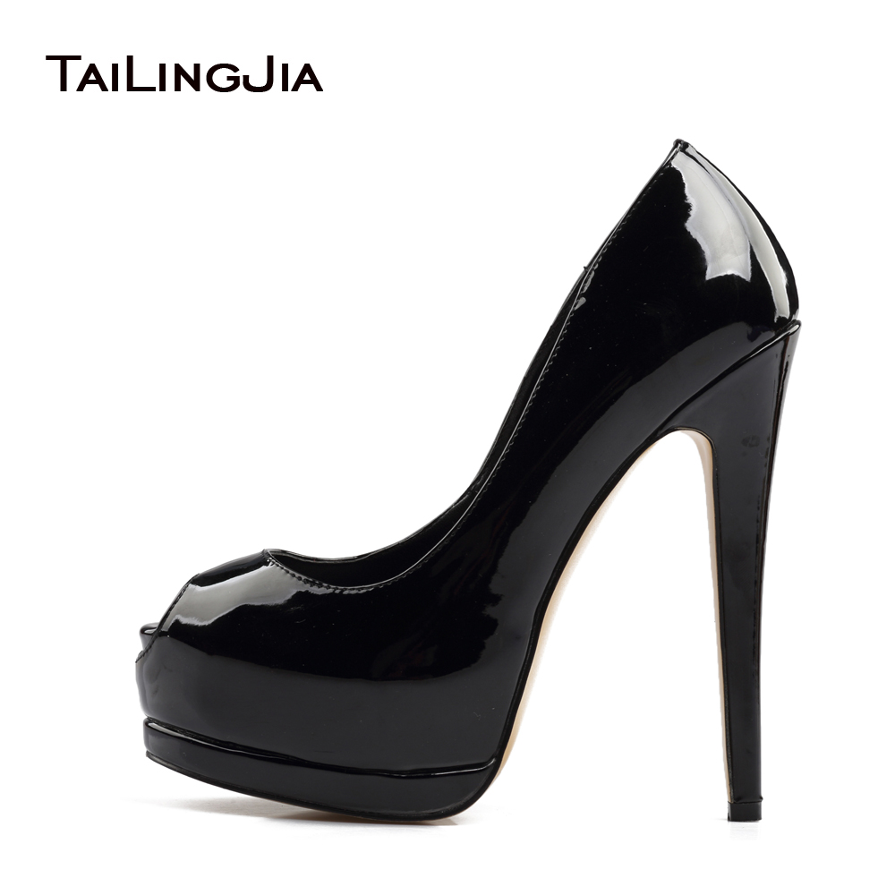2017 Women Sliver High Heel Peep Toe Pumps Ladies Black Blue Gull Patent Lær Summer Fall Shoes Ekstrem Sexy Heels Plus Size