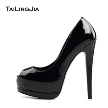 2017 Women Sliver High Heel Peep Toe Pumps Ladies Black Blue Gold Patent Leather Summer Fall Shoes Extreme Sexy Heels Plus Size