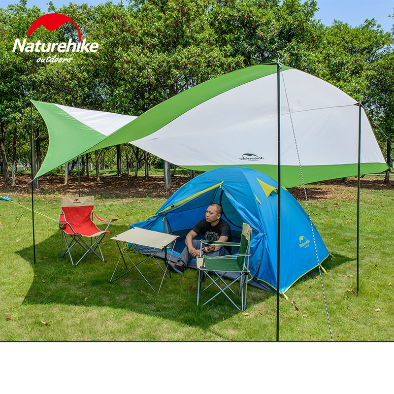 Naturehike Ultralight Camping Tarp Anti-UV Sun Shelter Awning Canopy Beach Tent Large Beach Shade  with Poles ultra large sun shelter tent king canopy 5 5 5 6m super large size uv car sunshade tent hexagonal punta rain awning tarp