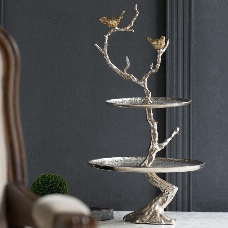 Plateau de service en aluminium de 61 cm de hauteur à 2 niveaux en inde/Branches d'arbre de support d'oiseau/3.2 kg