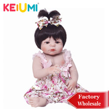 Wholesale 57cm Full Silicone Reborn Baby Doll 100% Handmade Reborn Babies Lifelike Girl Body For Kids Christmas or Birthday Gift(China)