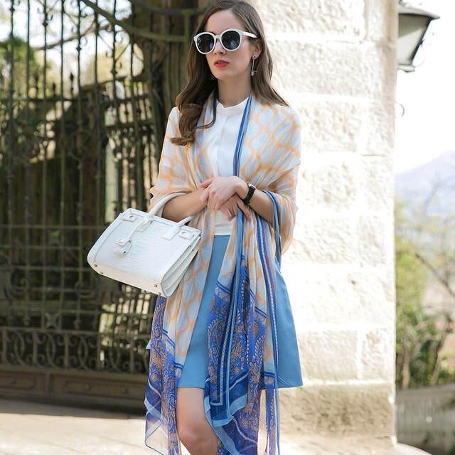 e8c2a63271d2 Online Shop Sexy Silk Hijab Scarves Summer Wear Beach Blanket Pareo Sarongs  Bikini Dress Scarf Wrap Foulard 110 245cm Bandana Face Shield