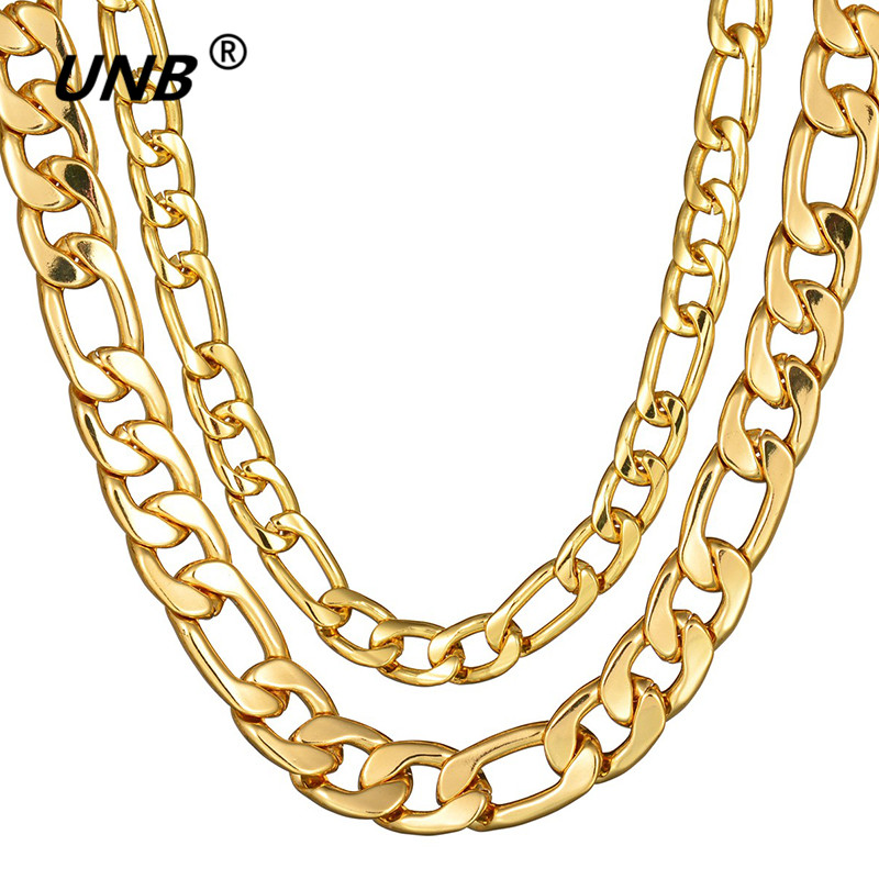 UNB Fashion Byzantine Box Chain Stainless Steel Necklace Mens Gold Tone Chain Necklaces Personalized Gift Jewelry Steampunk