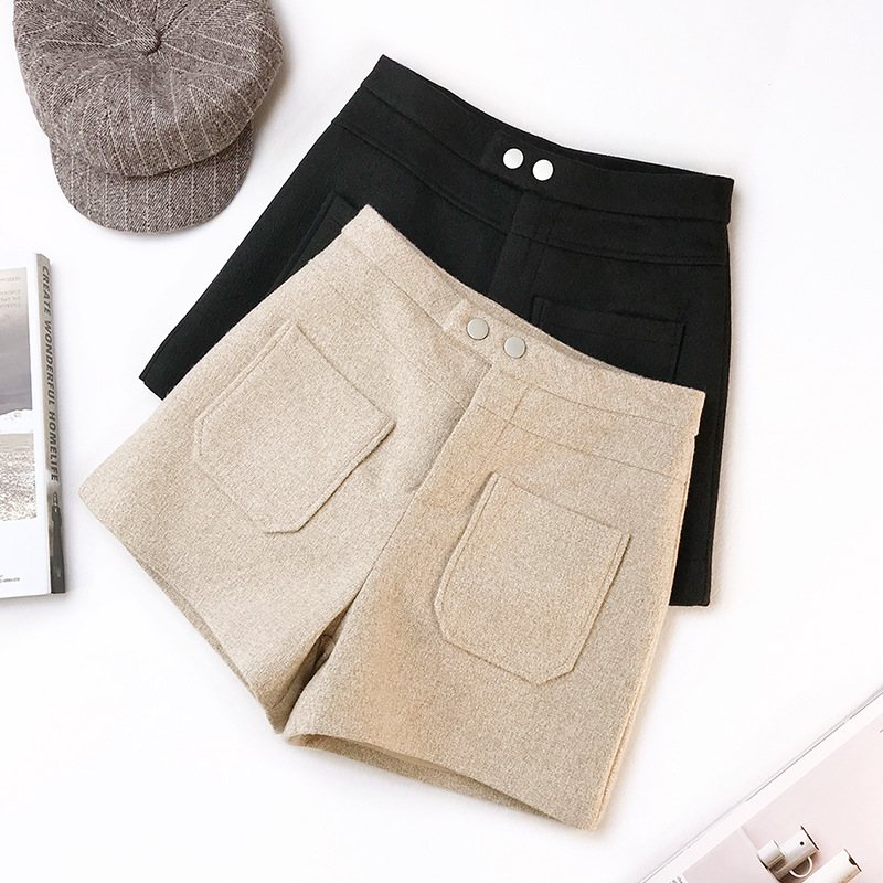 2019 Spring New Arrival Woolen   Shorts   Women High Waist Fashionable Wide-leg Ladies   Shorts   With Double Pockets Free Shipping
