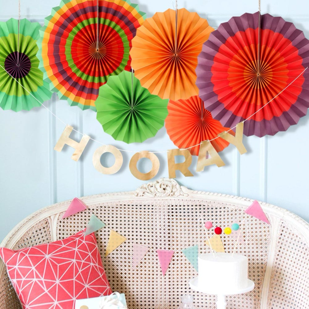 Ourwarm 6pcs Fiesta Party Decorations Mexican Paper Fan Wedding