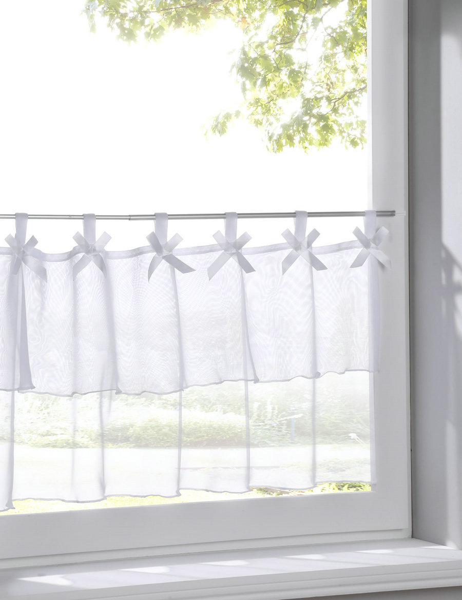 Curtain For Balcony: Double Deck Style Small Cafe Curtain Tab Top Sheer Kitchen