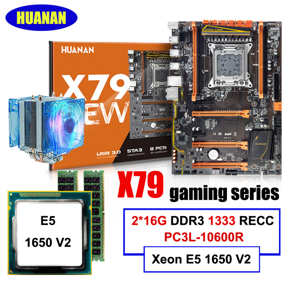 Best seller HUANAN deluxe X79 LGA2011 motherboard CPU Xeon E5 1650 V2 with CPU cooler RAM 32G(2*16G) 1333MHz DDR3 RECC