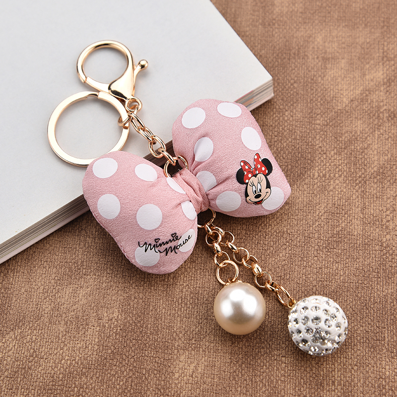 Fashion Mickey Key Chain Keychain With Bow Knot Alloy Jewelry For Women Girl Bag Car Key Ring Holder Charms Accessory 036WA