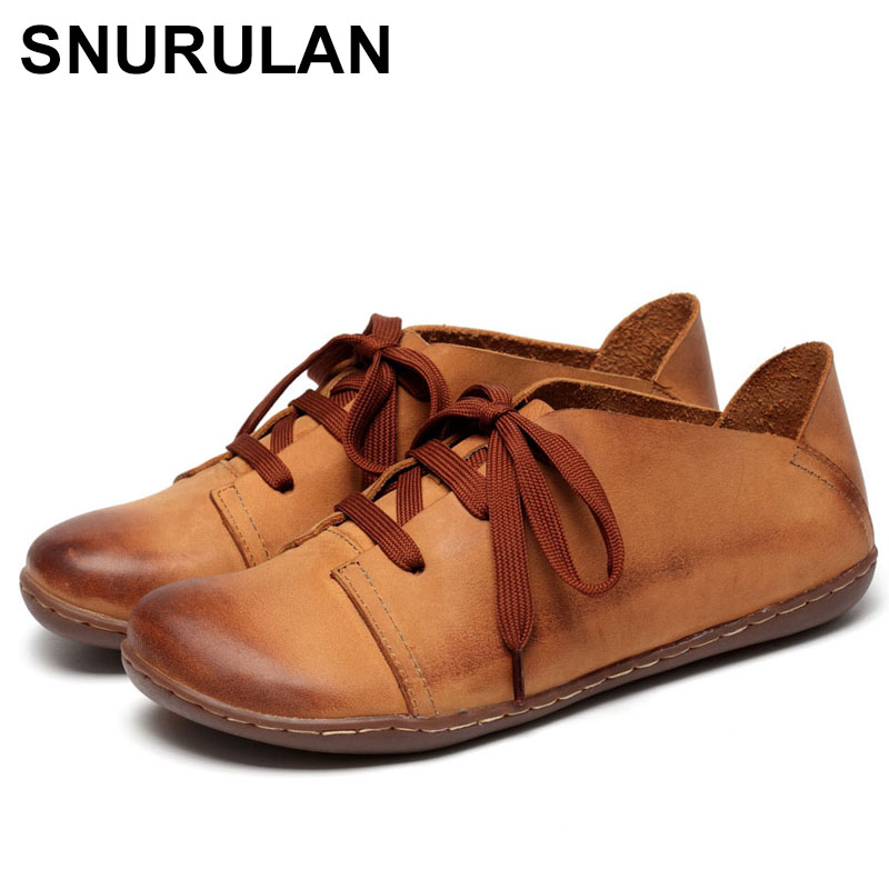 SNURULAN 2018 New Women Shoes Genuine Leather Lace-Up Flats Autumn Style 2 ColorsE621