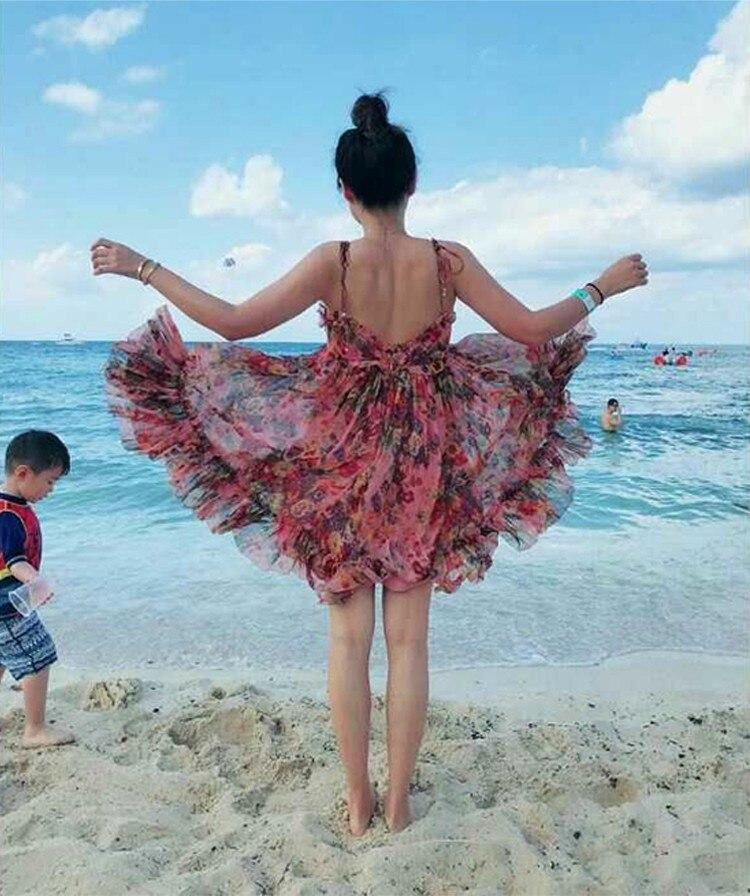 Dos Et Manches Sexy Robes Blue Nu Sans À Soie Femmes Rose Slip Couleur Bleu Volants Mini Fold pink Floral robe Summer wBWapv0q
