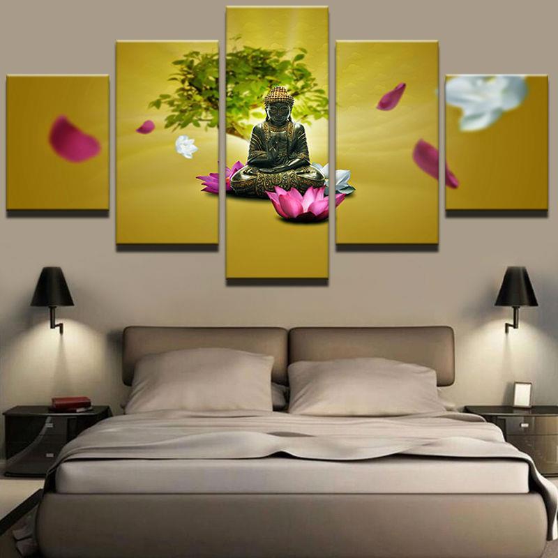 5 Panel HD Printed Framed Water Lily Buddha Modern Home Wall Decor ...