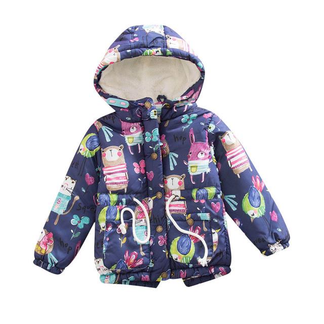 Niños ropa de invierno 2016 niñas abrigo de invierno de Graffiti Animal Con Capucha Chaquetas Superior Gruesa abajo chaqueta para chica ropa girlbaby gran
