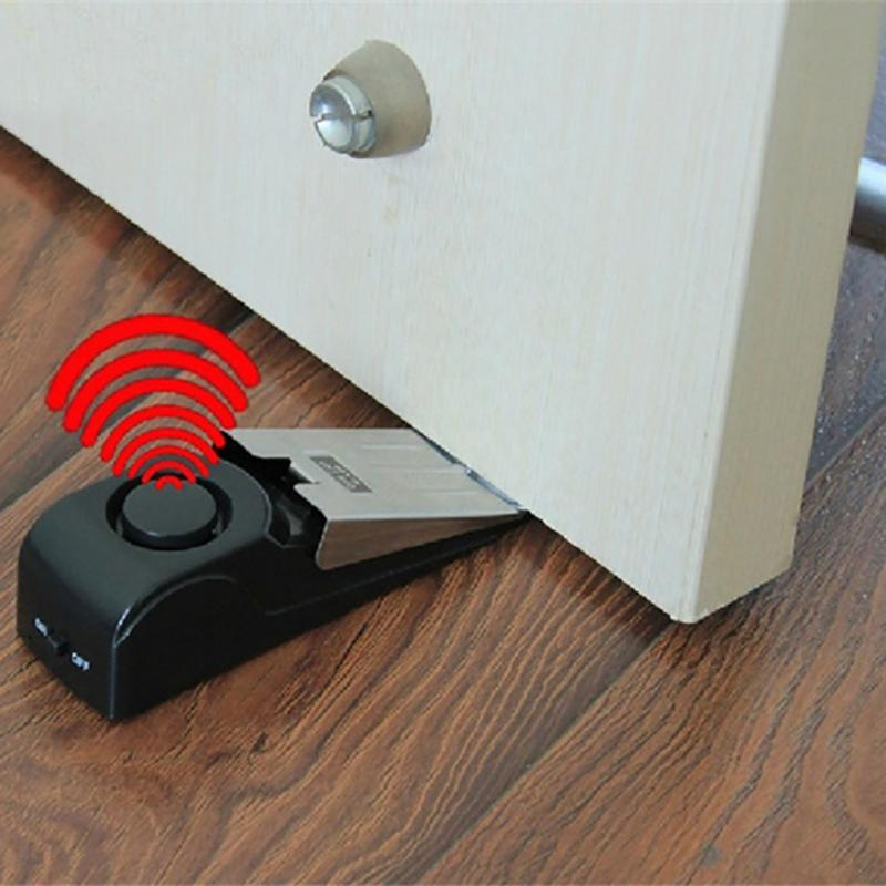Wireless Vibration Triggered Home Wedge Shaped Stopper Alert Security System Door Stop font b Alarm b