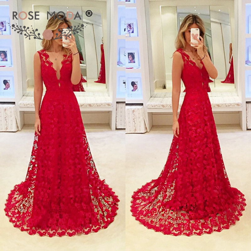 Rose Moda Red Lace A Line   Evening     Dress   Formal Party   Dress   Custom Made