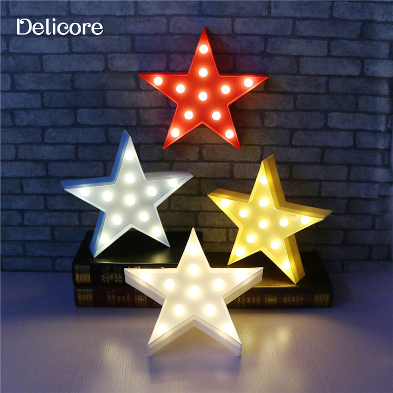 цены DELICORE Letters Light Star Shape LED Plastic Marquee Light Battery Operated LED Marquee Sign for Home Christmas Decorative